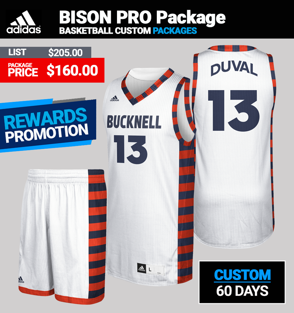 Adidas Custom Bison Basketball Uniform Package - Mens