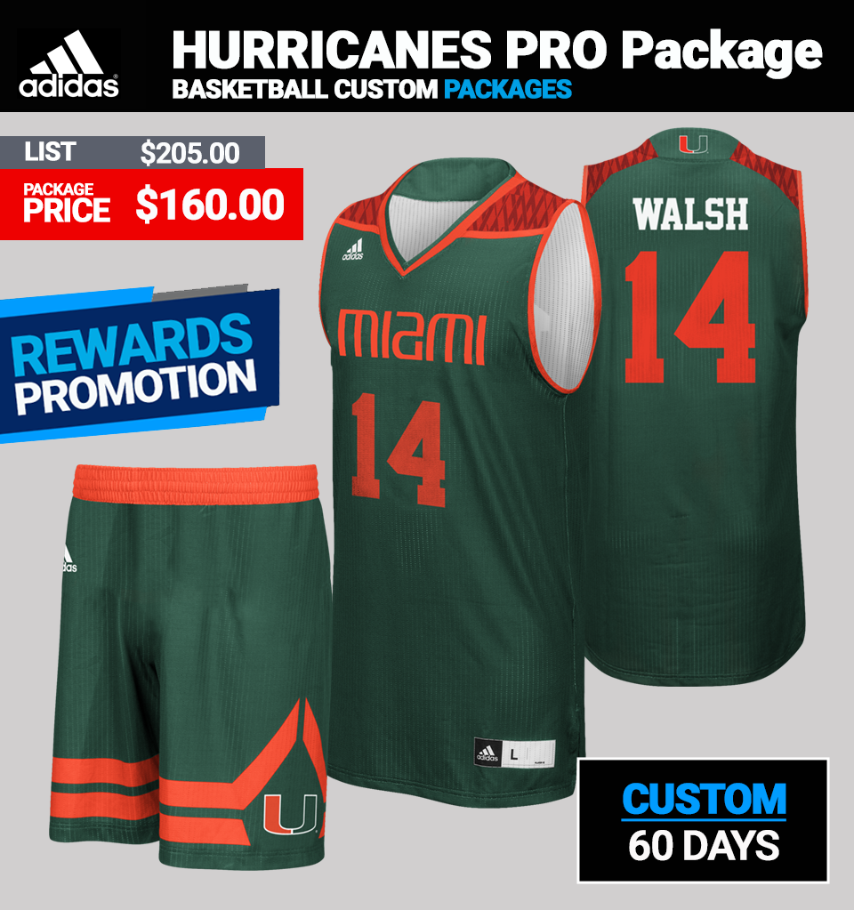 Adidas Custom Hurricanes Basketball Uniform Package - Mens