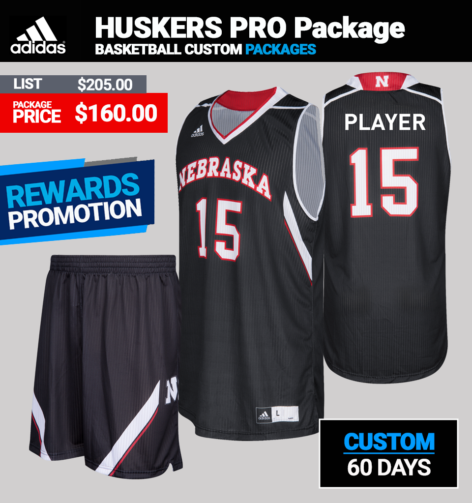 Adidas Custom Huskers Basketball Uniform Package - Mens