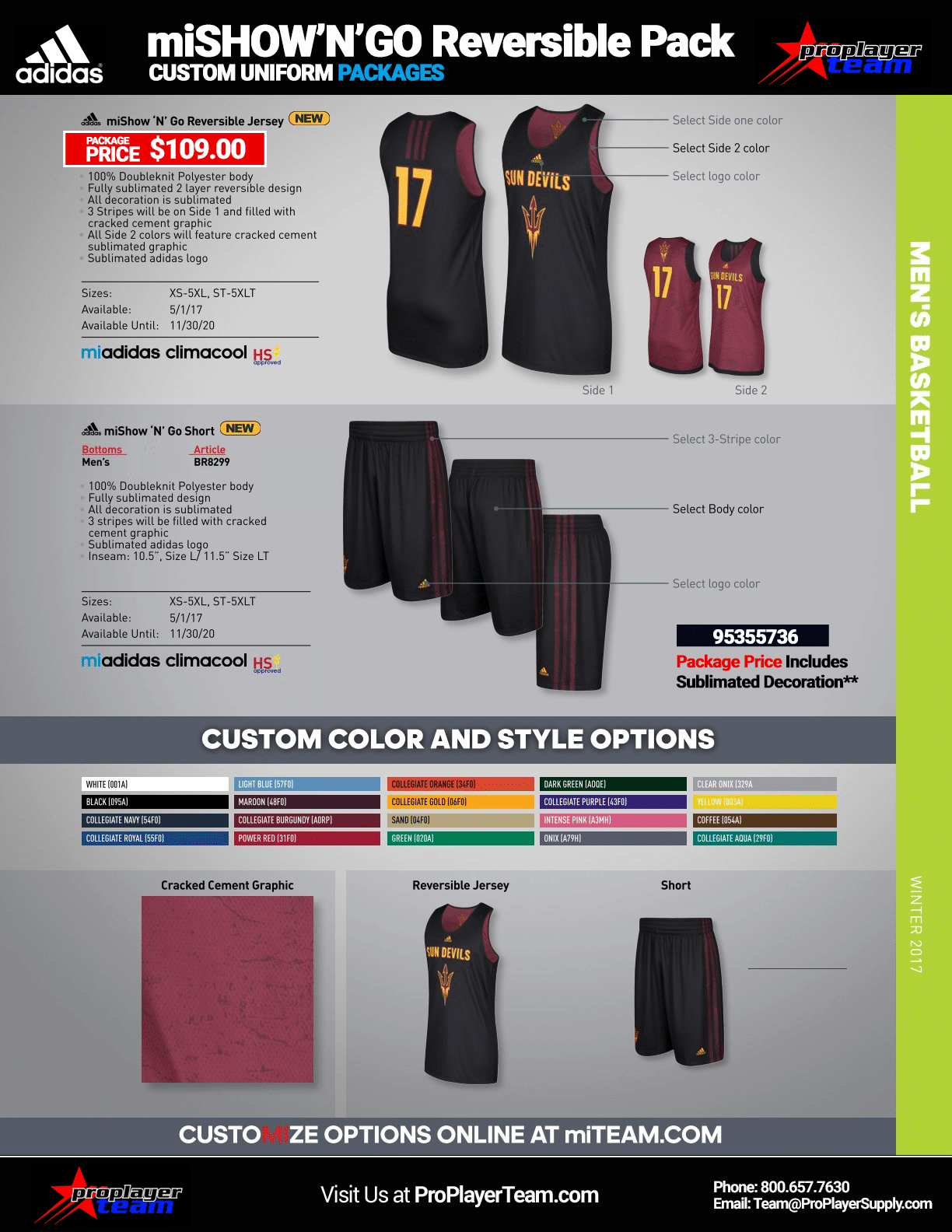 40f8a5d6d Adidas miSHOWNGO Reversible Basketball Uniform Package - Mens. MiTeam (45  Days) Click for PDF