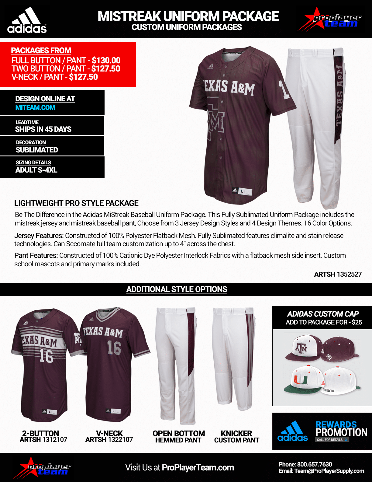 8df95aa0c921 Adidas MiStreak Custom Sublimated Package - 45 Day Leadtime - Click for PDF