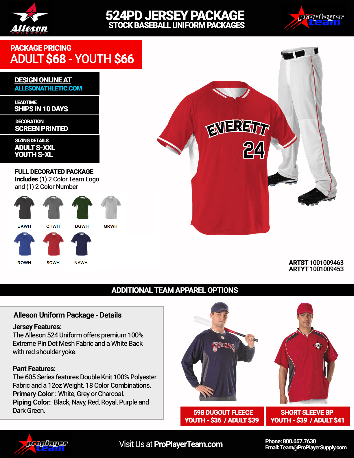 Alleson 524PD Baseball Uniform Package · Stock 10 Day Leadtime - Click for  PDF 3f64074c7
