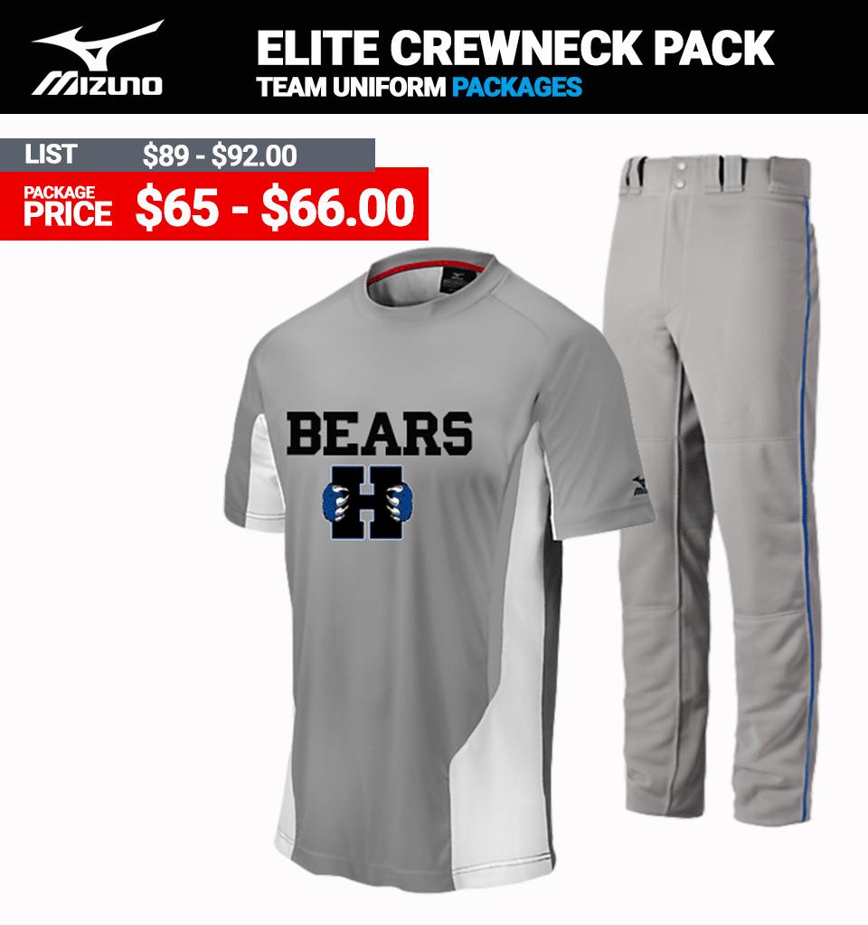Mizuno Elite Crewneck Uniform Package Mens
