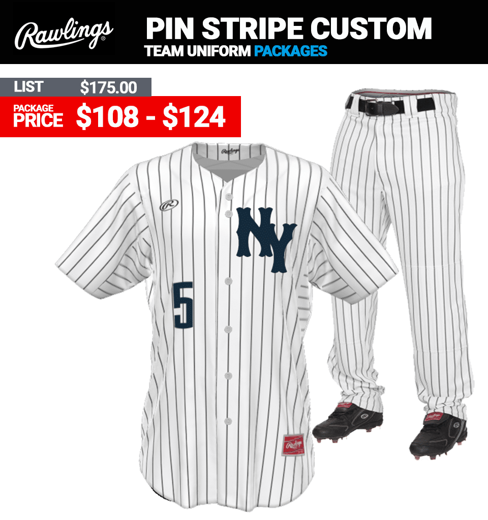 Rawlings Pin Stripe Sublimated Baseball Uniform Package