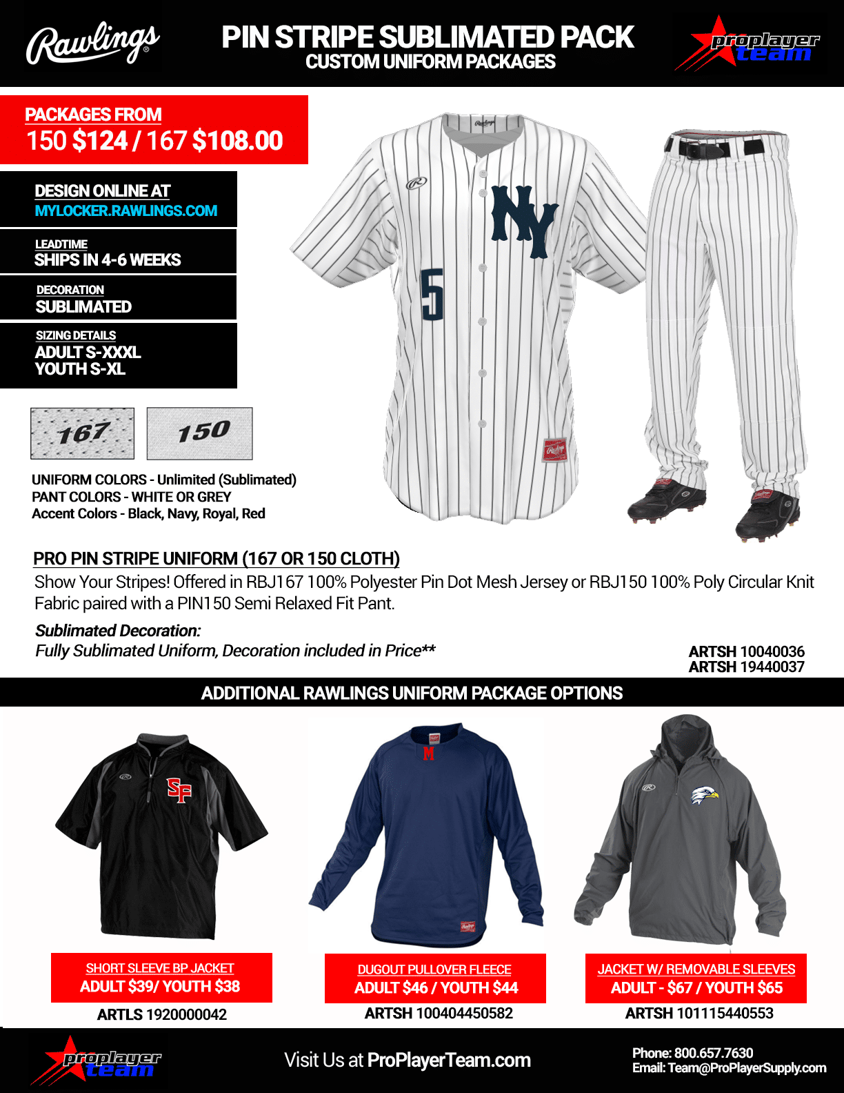 99ad684a0 Rawlings Pin Stripe Sublimated Baseball Uniform Package · Stock Twill  Package - Click for PDF