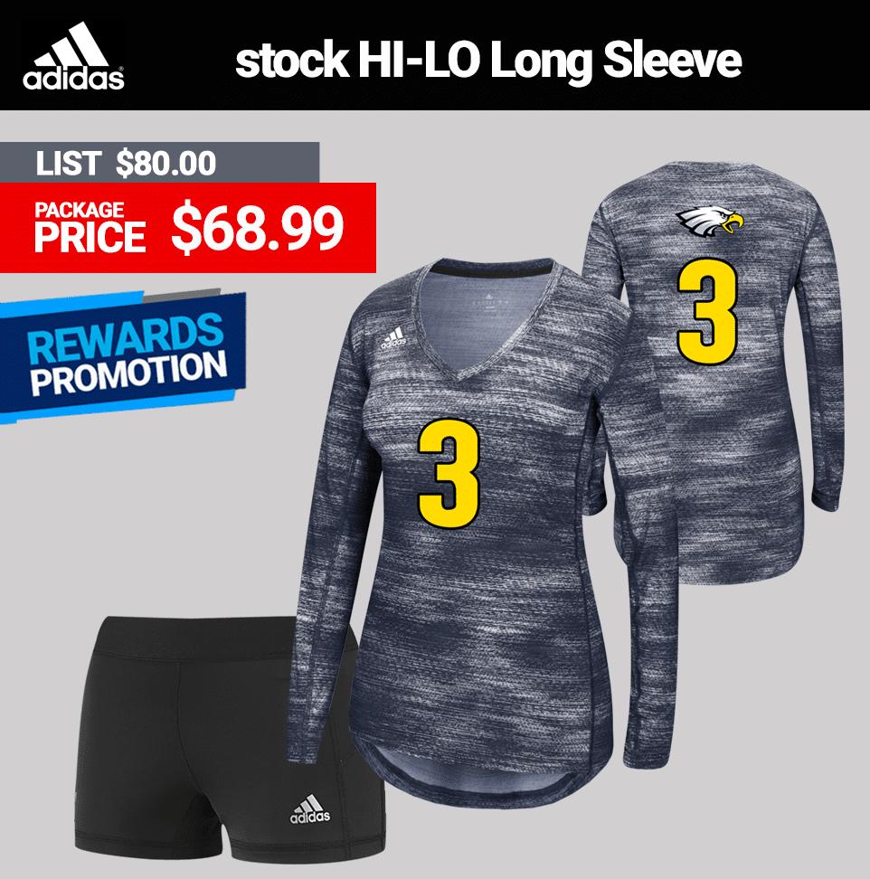 Adidas Hi-Lo Long Sleeve Volleyball Uniform Package