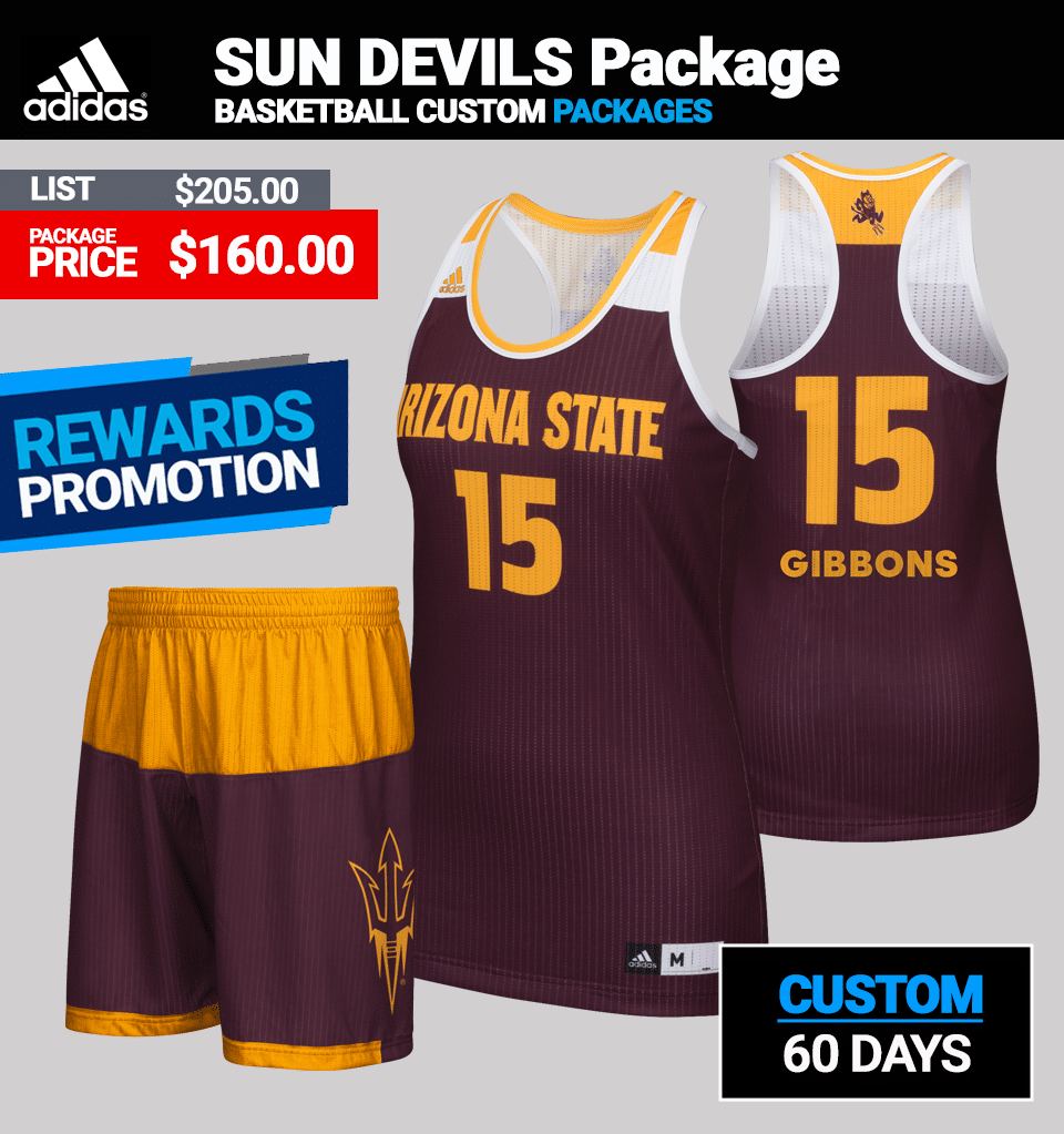 f7cb68112e8f Adidas Women s Custom Sun Devils Basketball Uniform Package