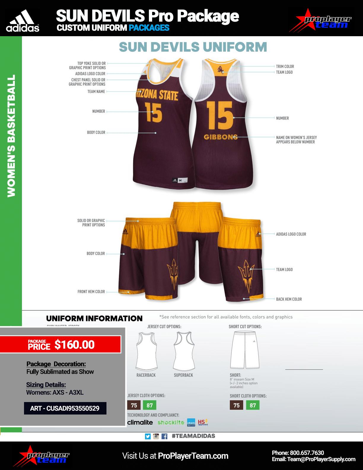 e29583318 Adidas Women s Custom Sun Devils Basketball Uniform Package · Custom (60  Days) Click for PDF