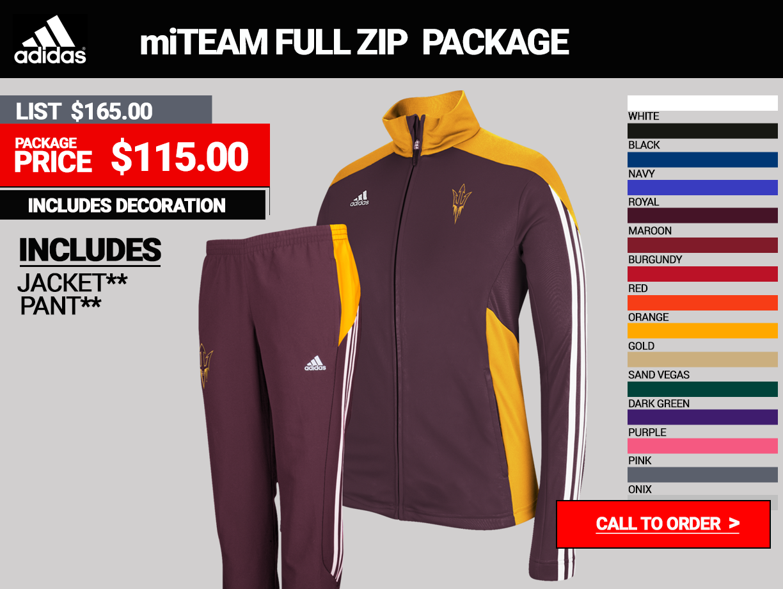 Adidas Womens MiTeam Full Zip Warmup Package