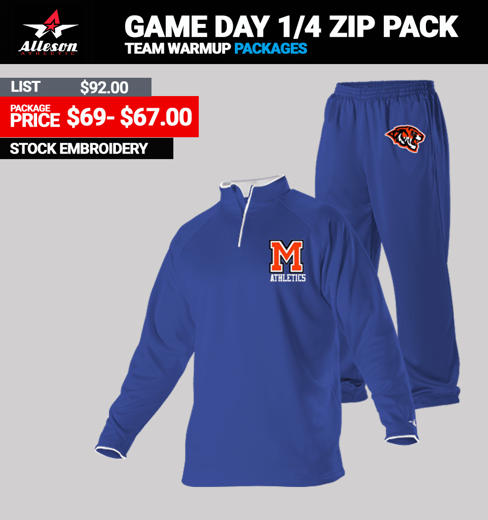 Alleson Game Day Zip Warmup Package