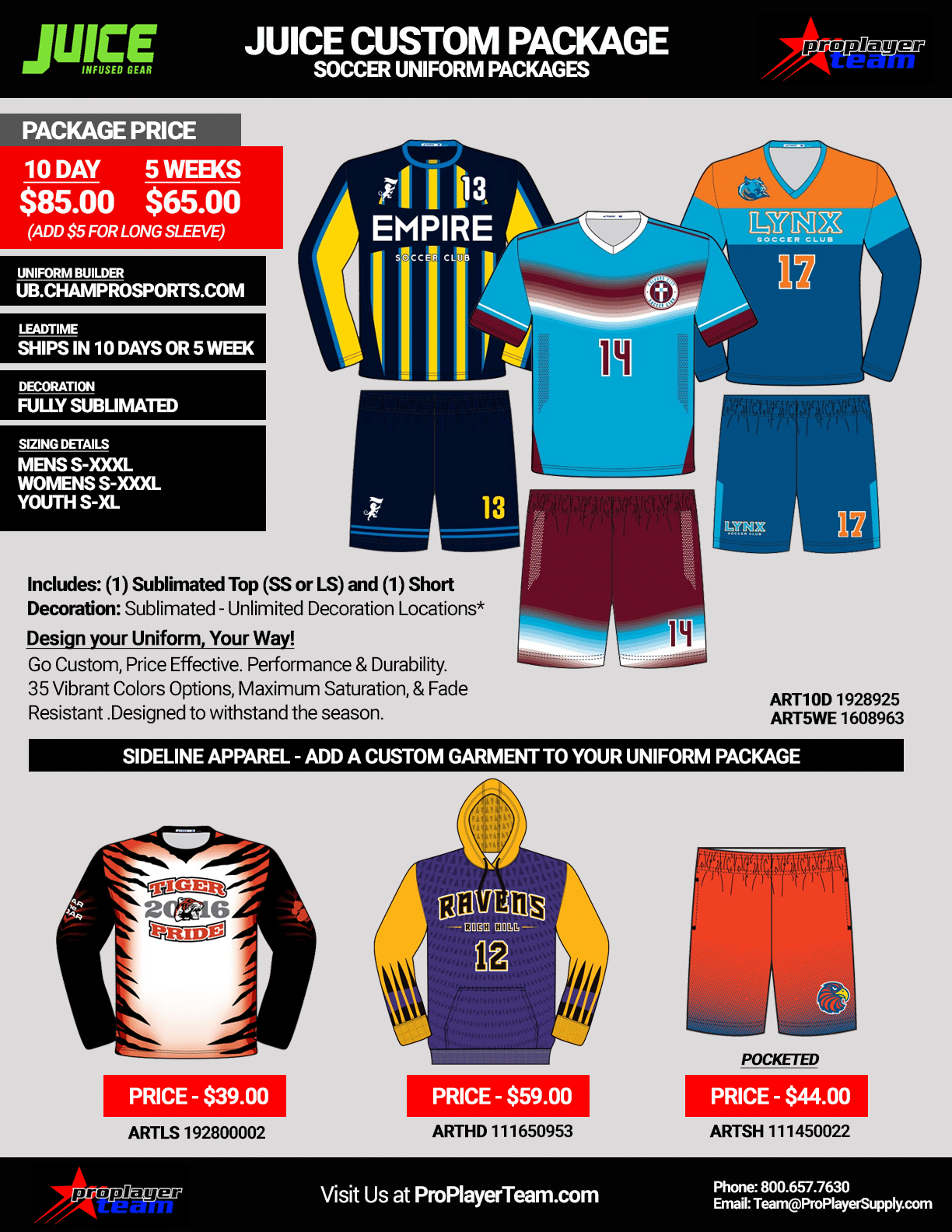3ac45c3dc Juice Sublimated Soccer Uniform Package. Authentic Complete Game Package -  Call for Details