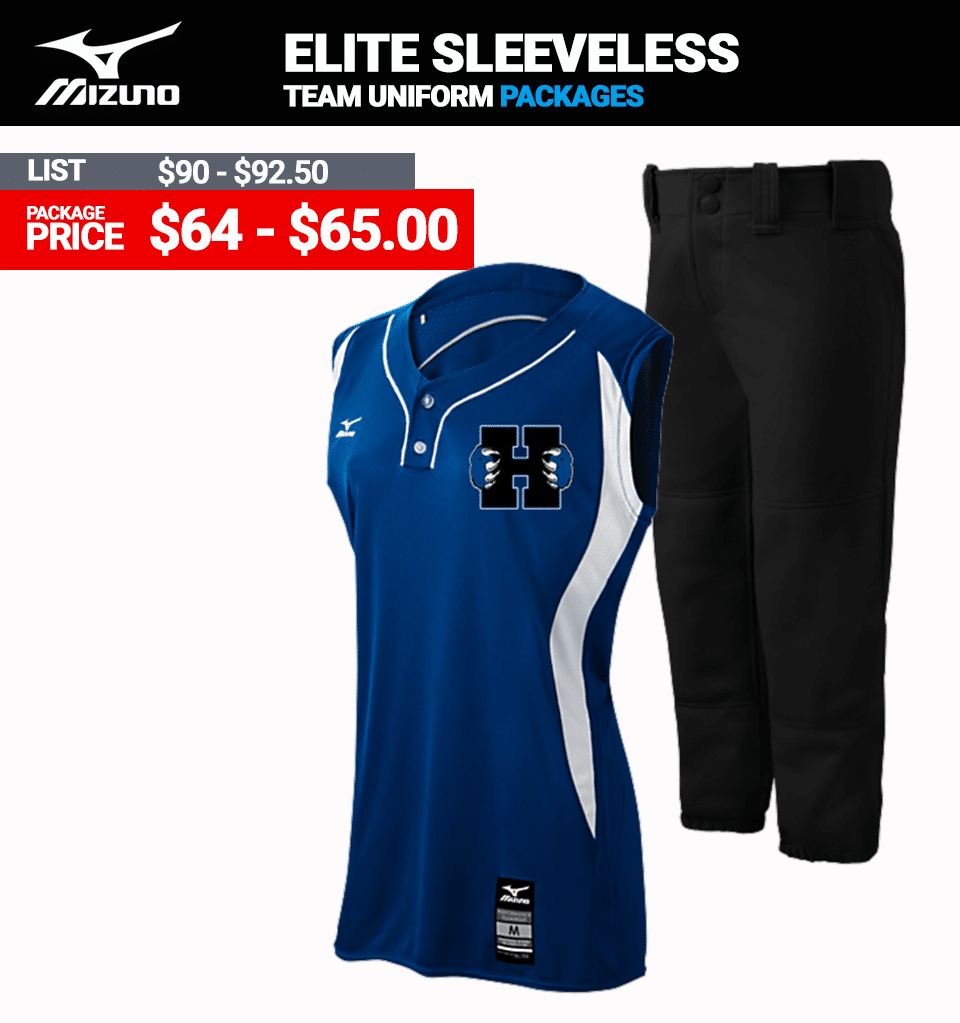 Mizuno Stock Elite 2 Button Sleeveless Softball Uniform Package