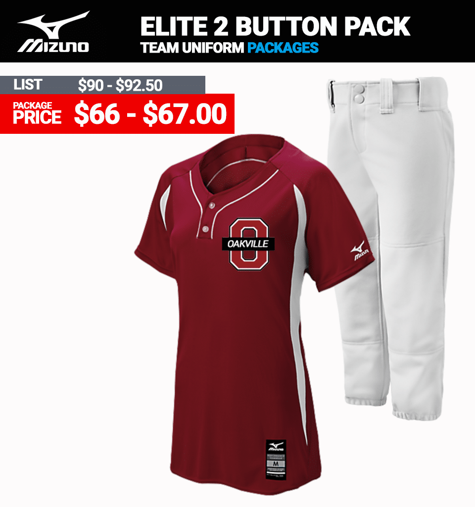 Mizuno Stock Elite 2 Button Softball Uniform Package