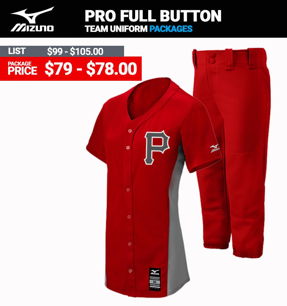 Mizuno Stock Pro Full Button Softball Uniform Package