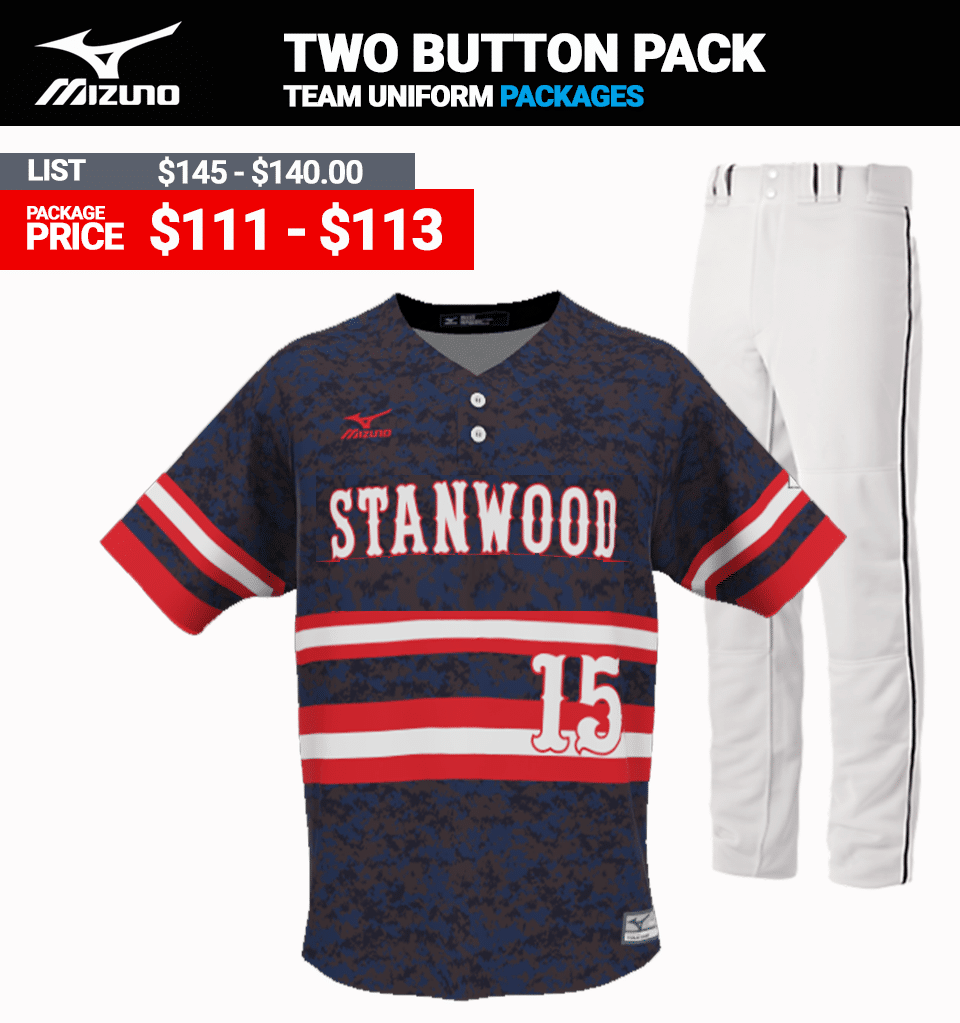 Mizuno Sublimated Uniform Package - Baseball Two Button