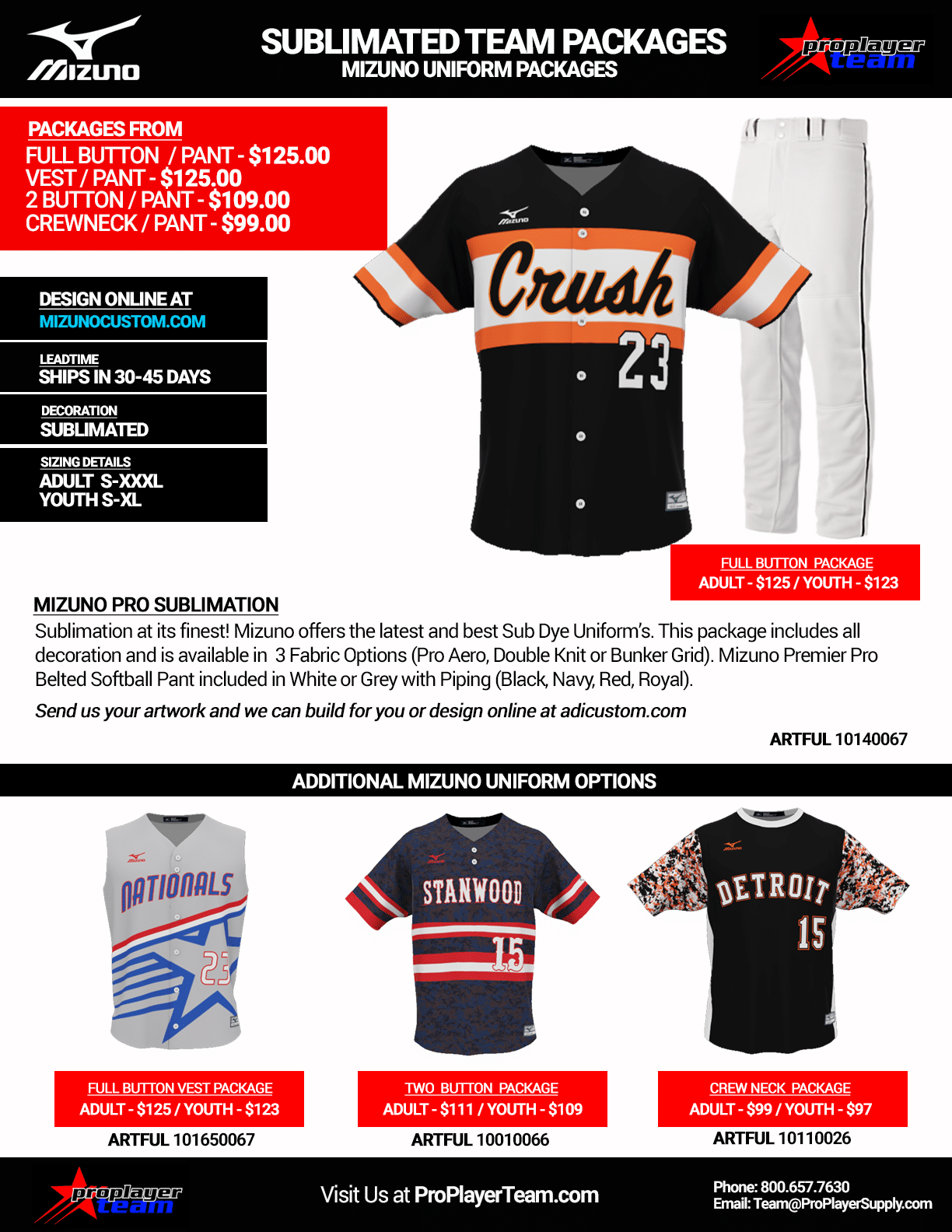 Mizuno Stock Packages. Mizuno Sublimated Baseball Uniform Package - Baseball.  Custom - 30 Days - Click for PDF 35a63bb5b