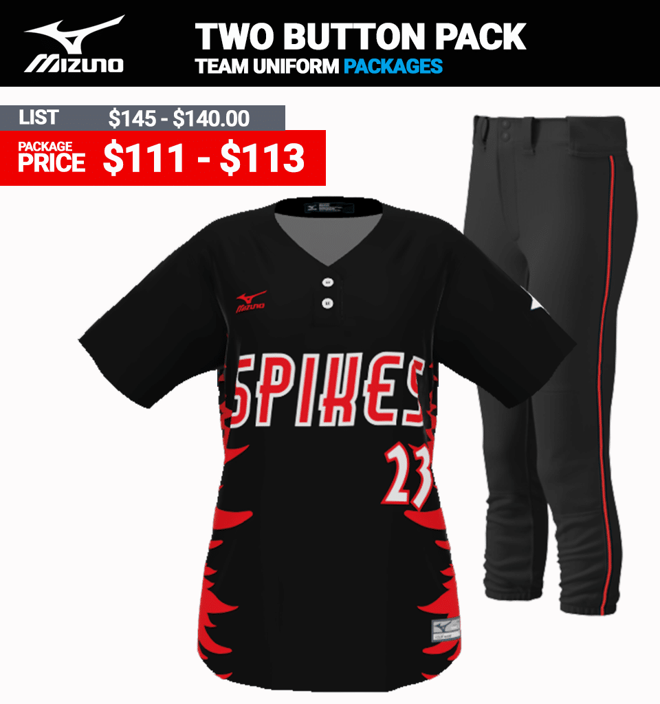 Mizuno Sublimated Uniform Package - Softball Two Button