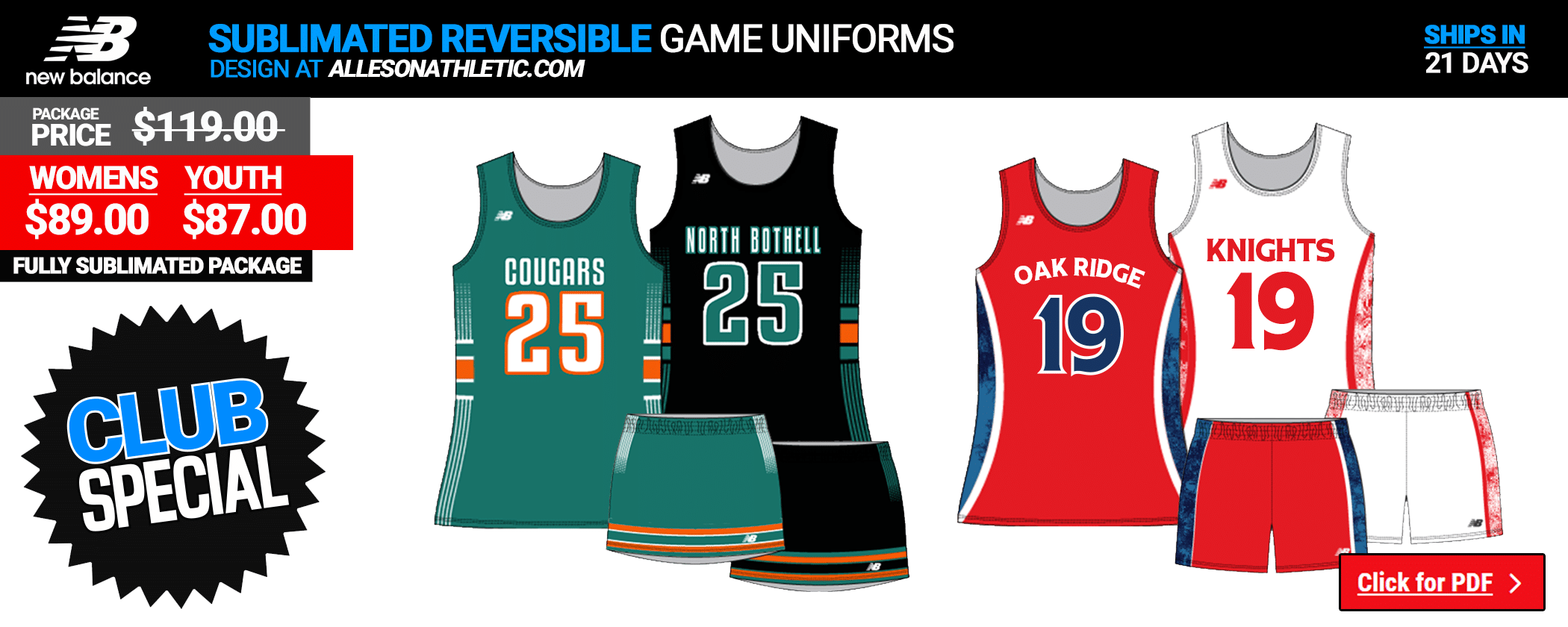 New Balance Sublimated Ladies Reversible Game Uniform Package
