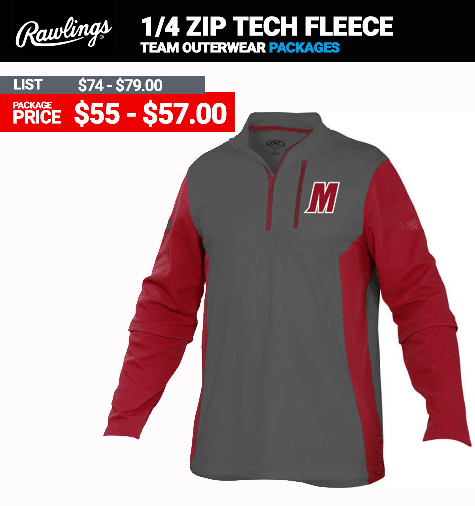 Rawlings Quarter Zip Tech Fleece Baseball Pullover