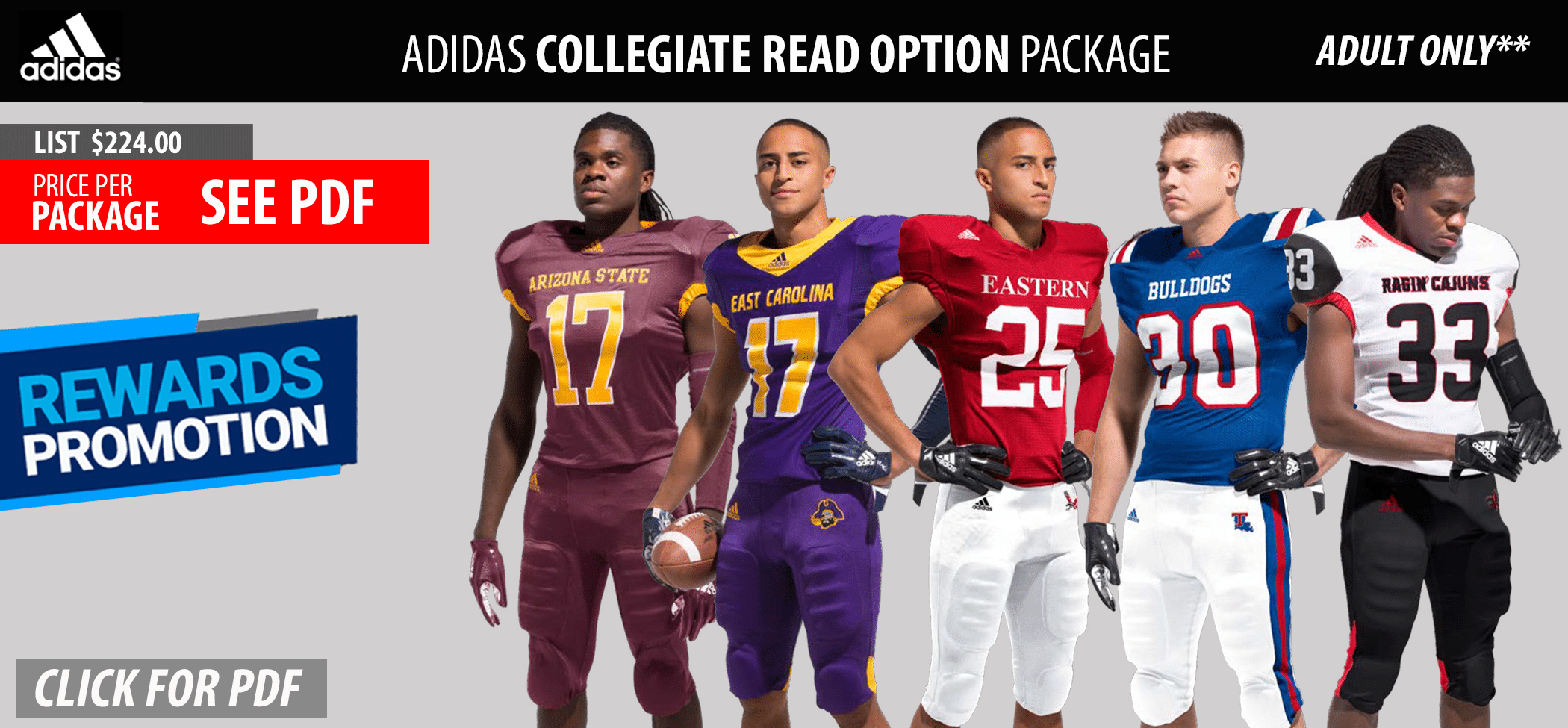 Adidas Adult Read Option - Twill Football Uniform Package