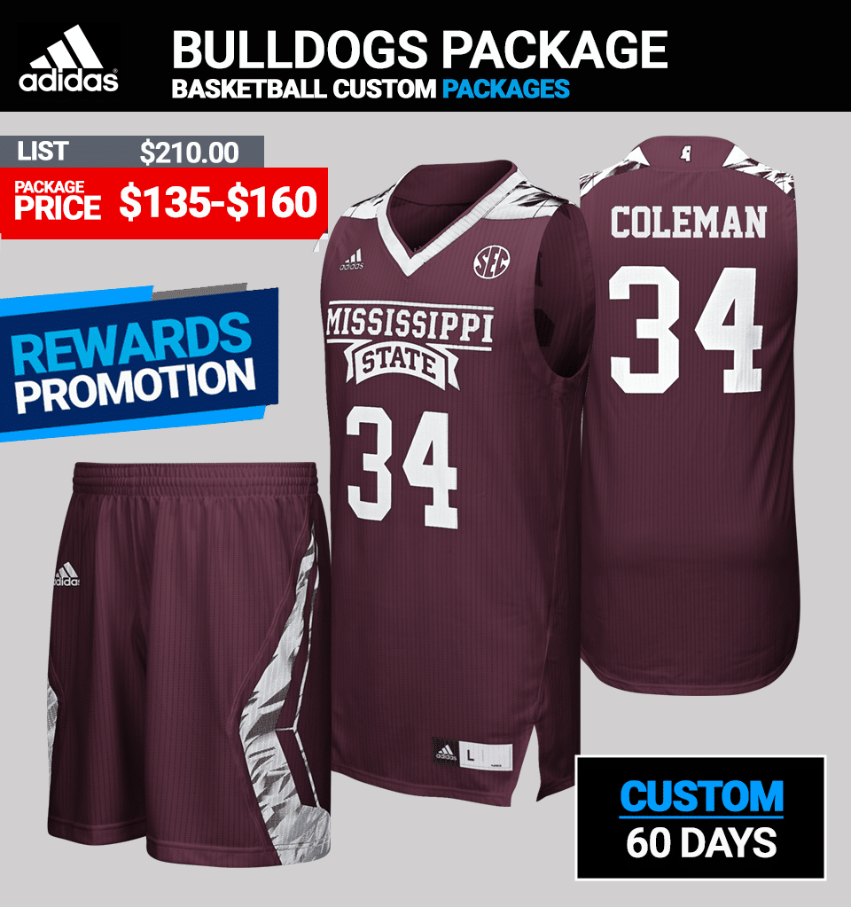 ec50b62ce034 Adidas Custom Bulldogs Mens Pro Basketball Jersey Package