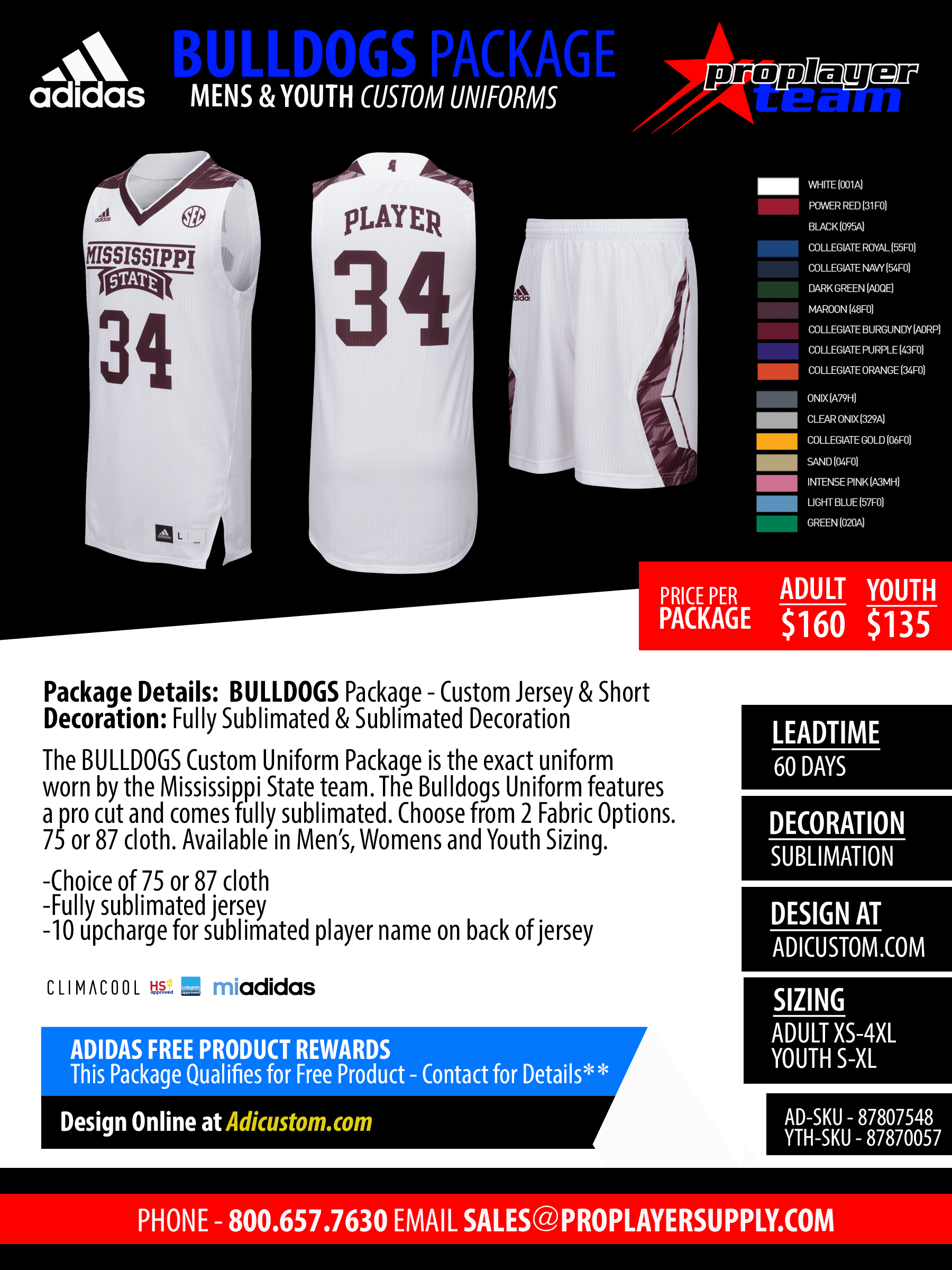 27b4e4da84c Adidas Custom Bulldogs Mens Pro Basketball Jersey Package. Custom (60 Days)  Click for PDF>