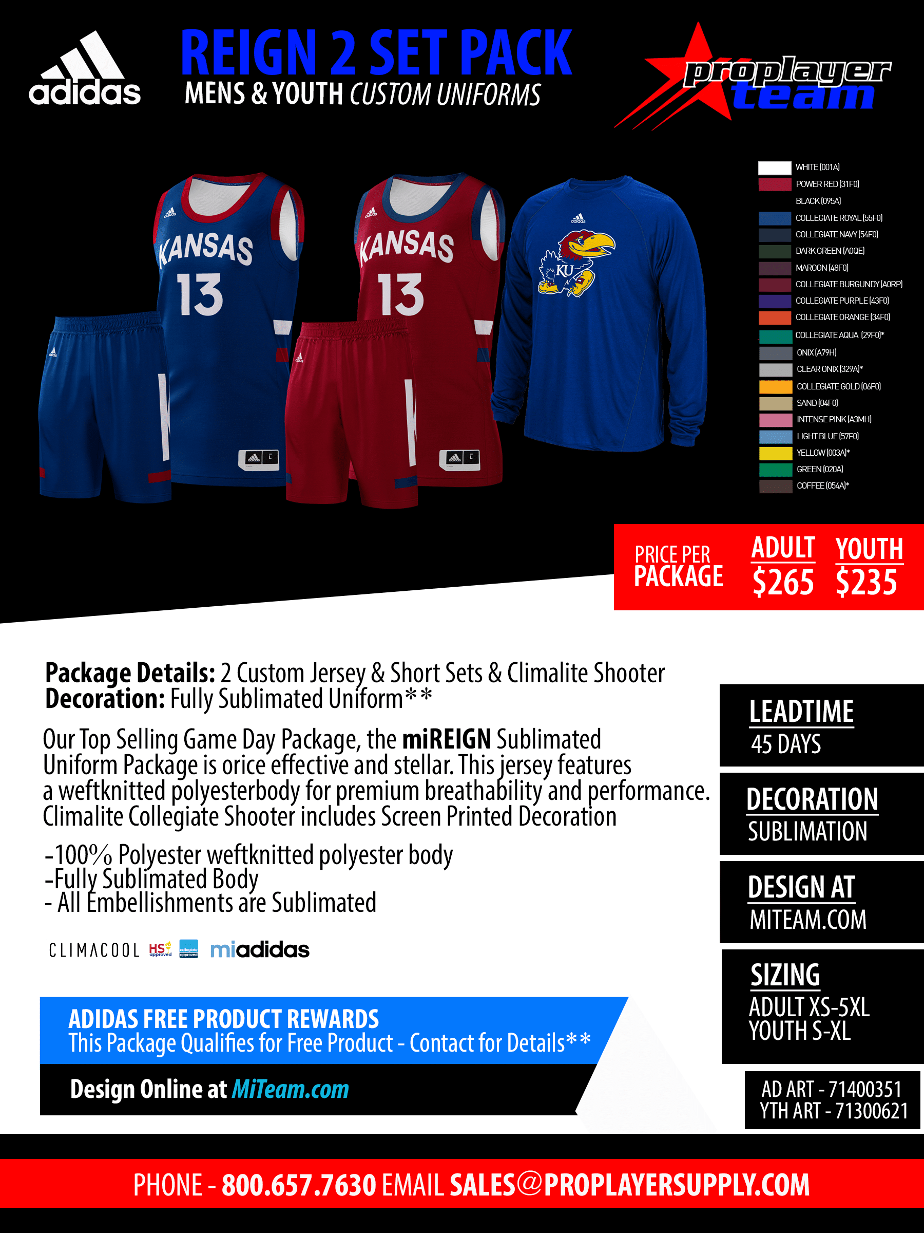 fef0a3b7047 MiTriple Up Complete Uniform Package (45 Days) Click for PDF>. Adidas Custom  Shockline Fade Pro Basketball Jersey Package