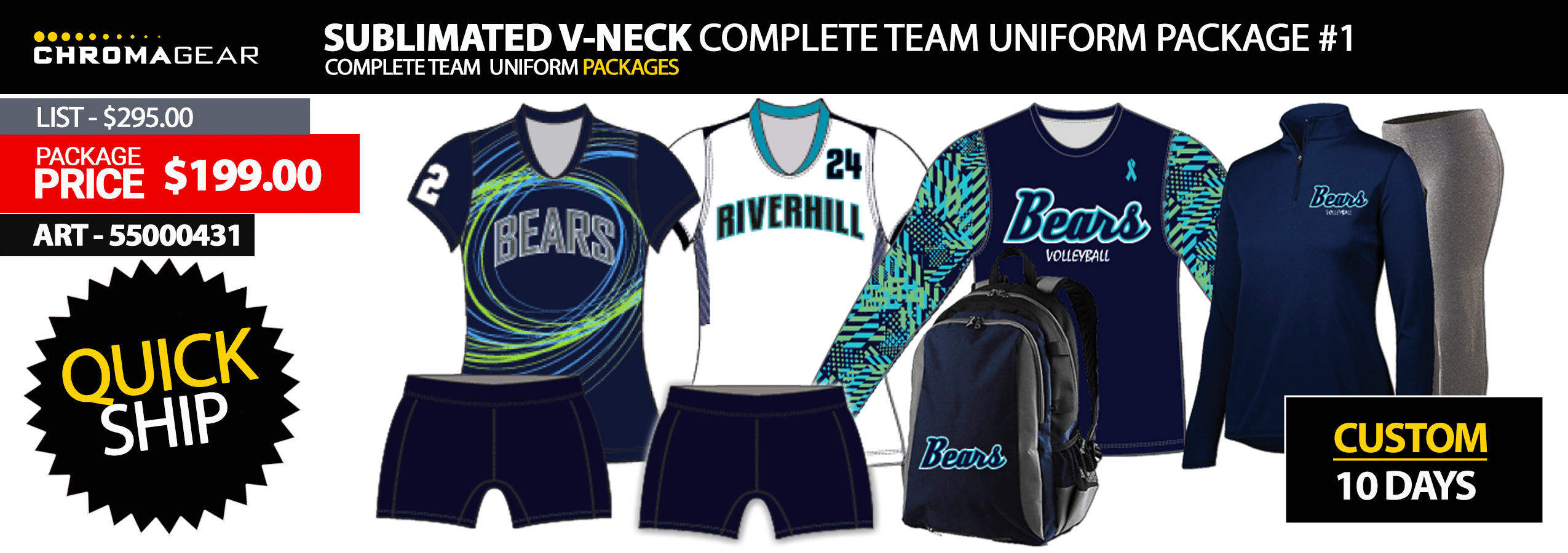 Adidas Quickset Long Sleeve Volleyball Uniform Package