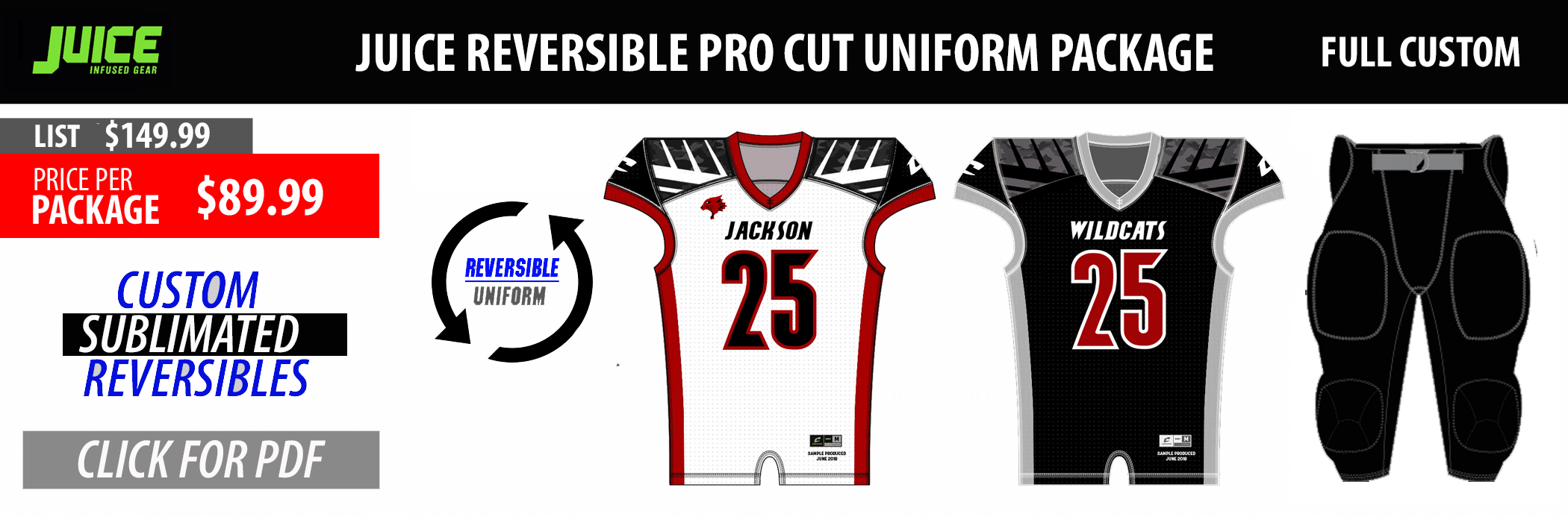 Juice Custom Sublimated Football Team Jersey Uniform Package - ProPlayerTeam