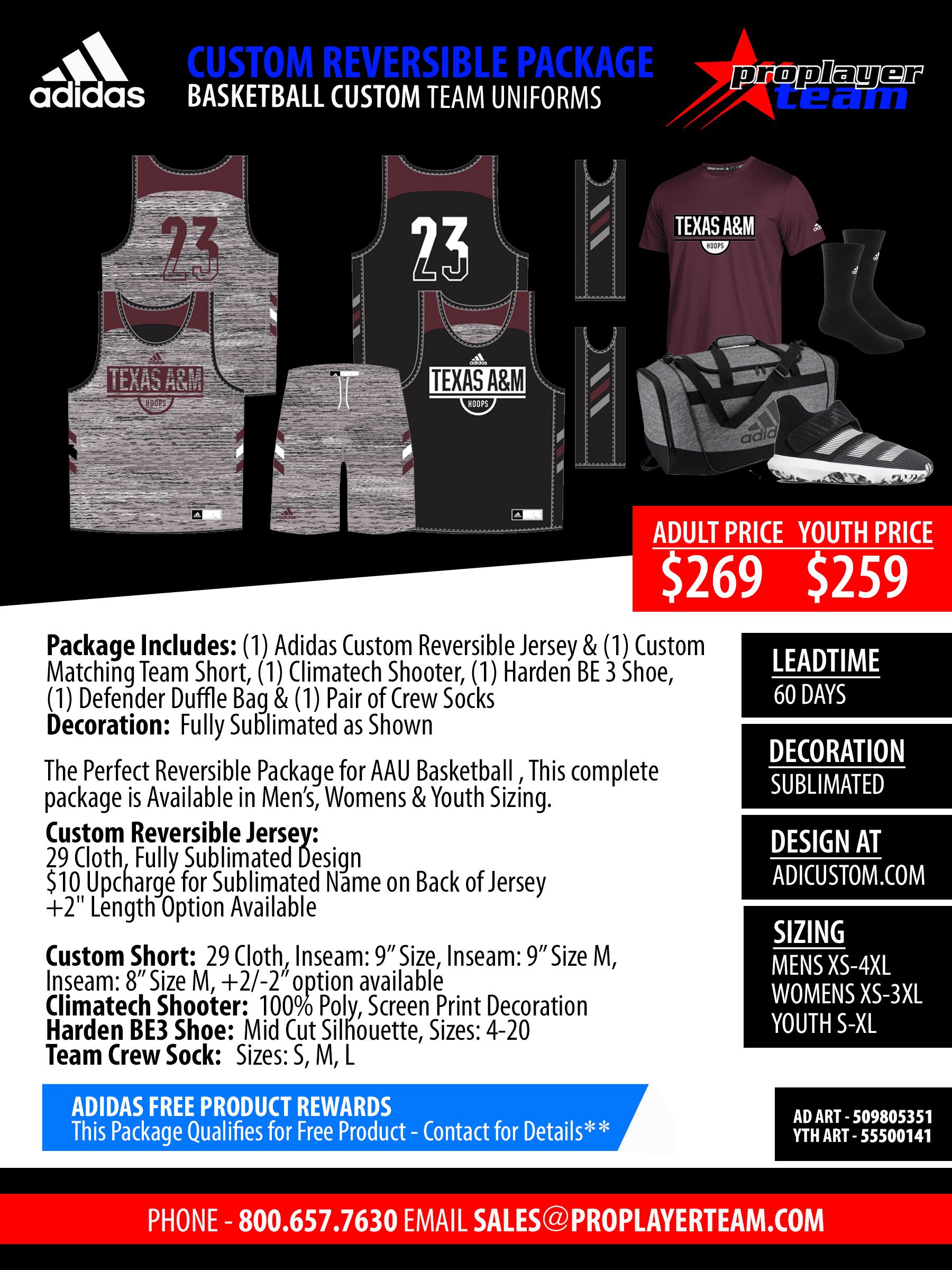 77f4c16ff Custom Team Package (60 Days) Click for PDF . Adidas Custom Shockline Fade  Pro Basketball Jersey Package