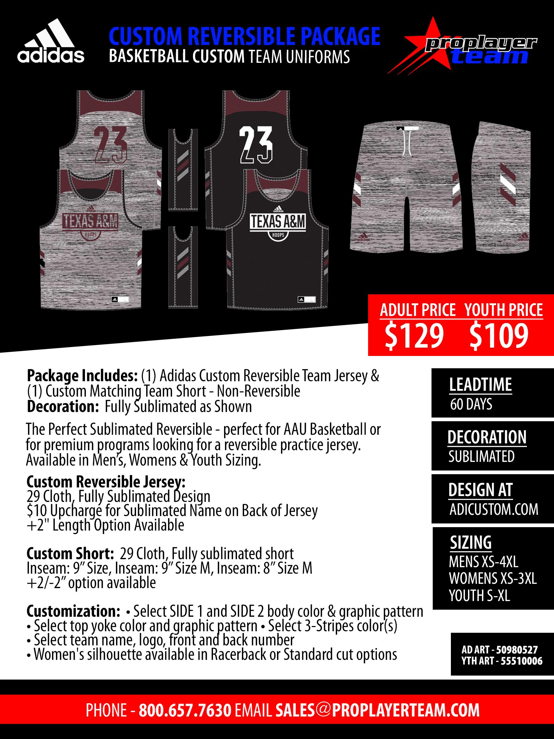 38caf00c8 Adidas Custom Game Changer Basketball Uniform Package - Mens. Custom (60  Days) Click for PDF