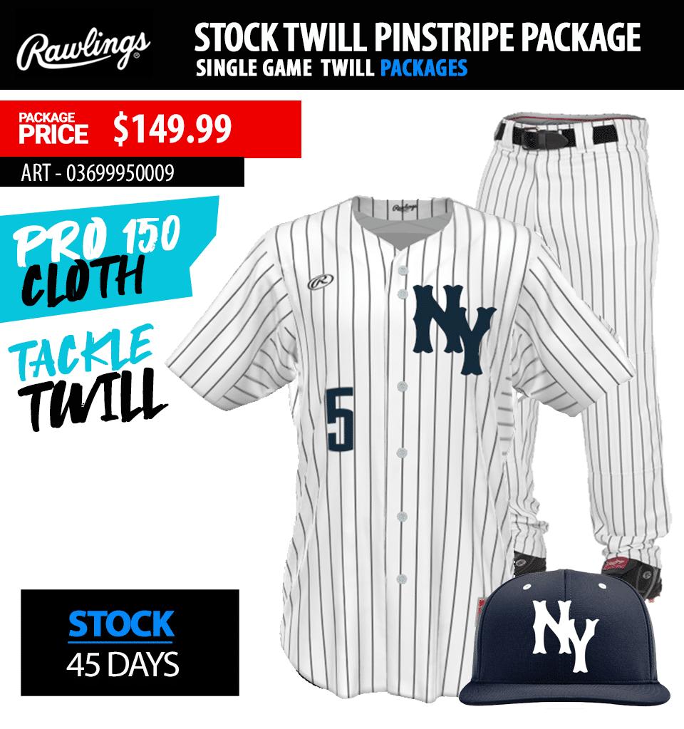 Rawlings Pin Stripe Sublimated Baseball Uniform Package