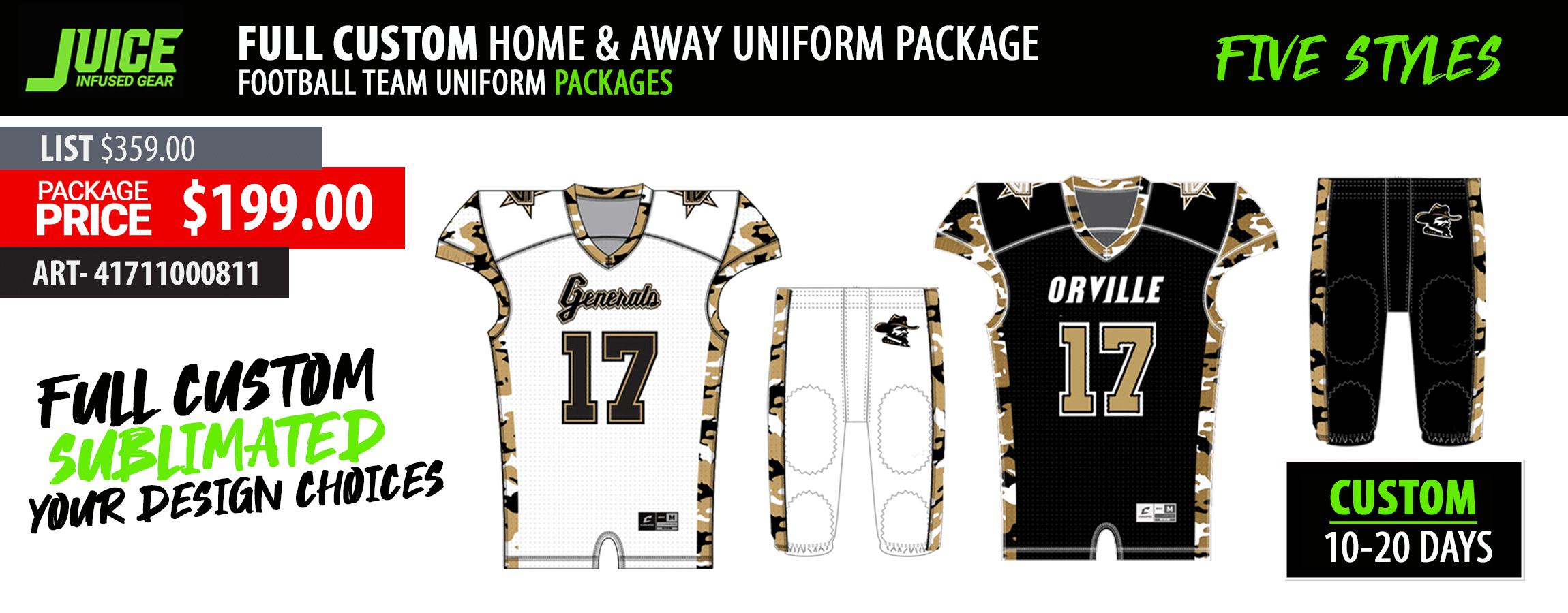 Juice Custom Sublimated Football Team Jersey Uniform Package - ProPlayerTeam