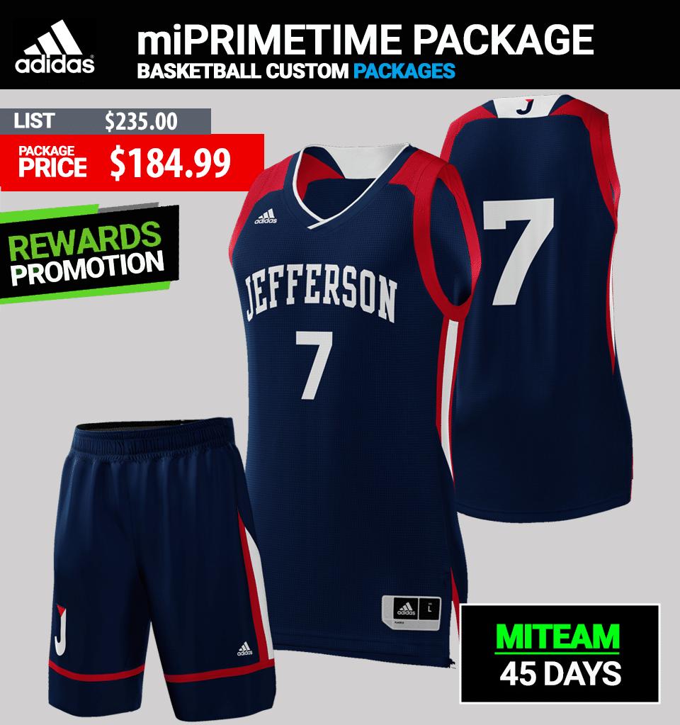 Adidas Custom Hurricanes Basketball Uniform Package - Mens
