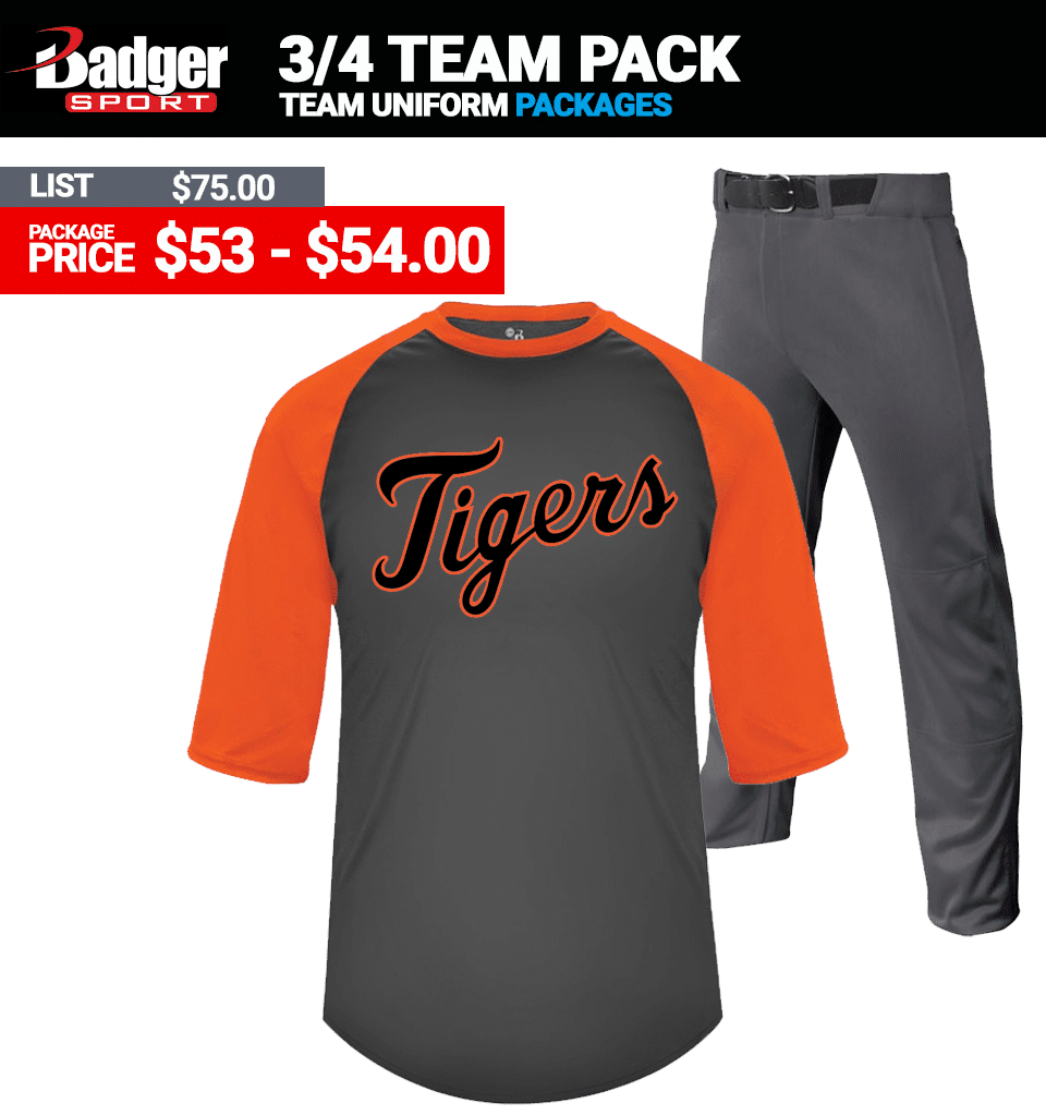 Badger 3/4 Sleeve Baseball Uniform Package