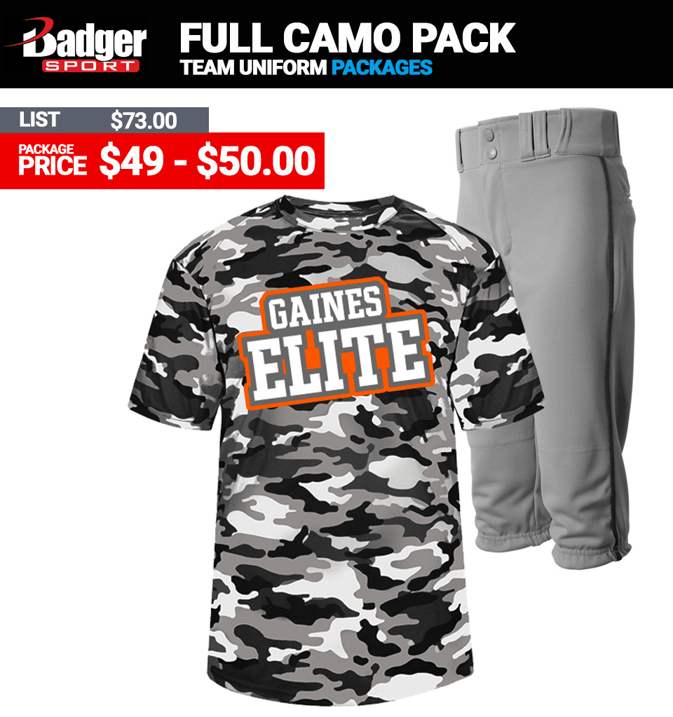 Badger Full Camo Baseball Uniform Package