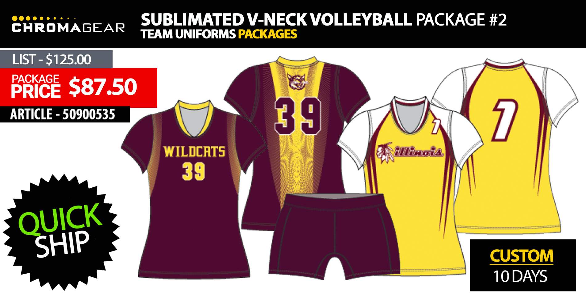 Adidas Quickset Long Sleeve Volleyball Uniform Package