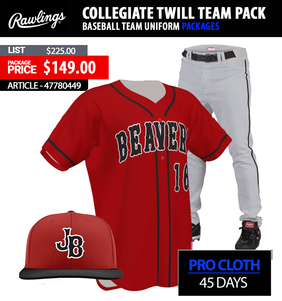 Rawlings RBJ150 Tackle Twill Baseball Uniform Package