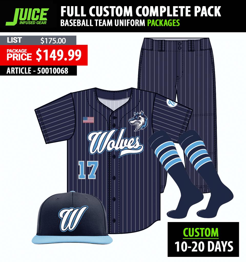Adidas Legacy Baseball Sublimated NC State Uniform Package