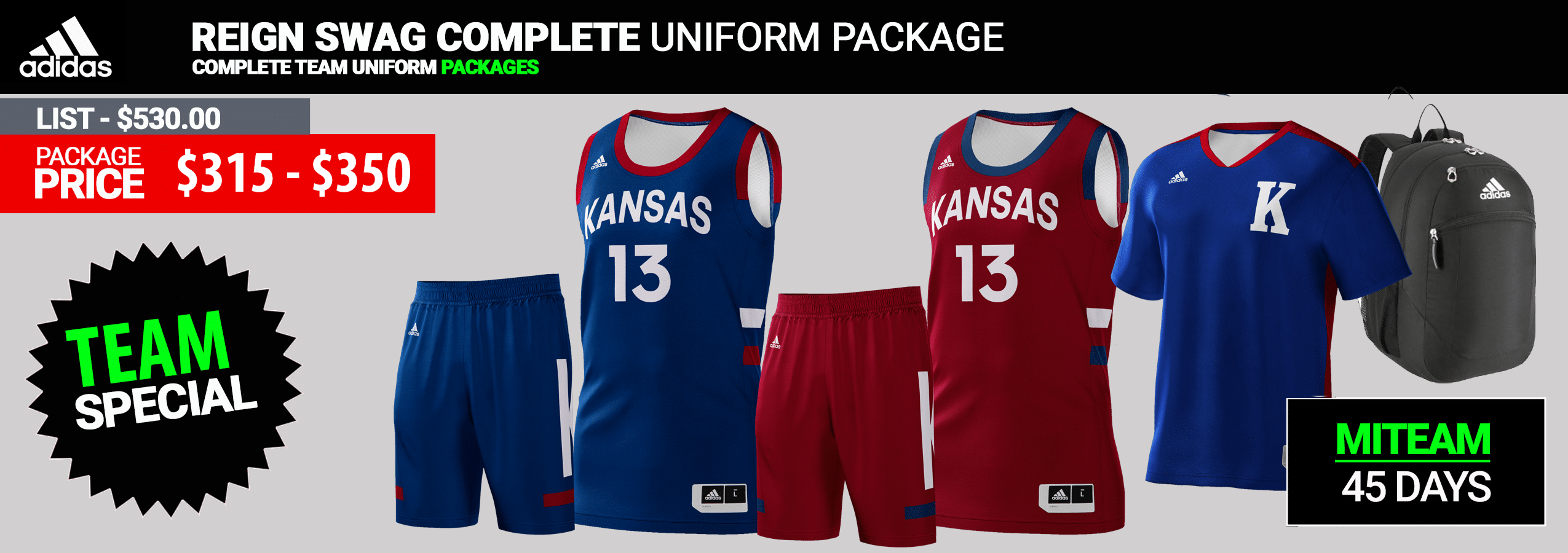 Adidas Custom Reversible Youth Basketball Uniform Package