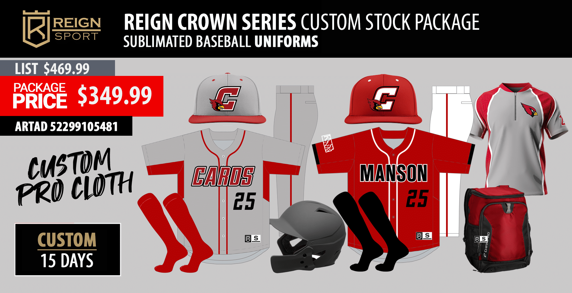 Adidas Legacy Baseball Sublimated NC State Uniform Package